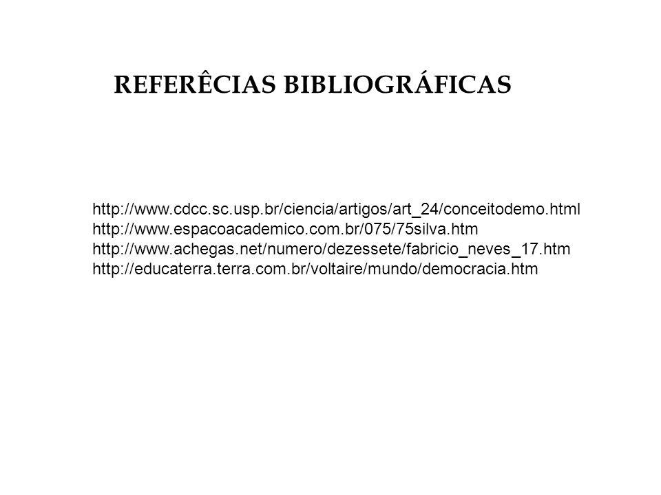 REFERÊCIAS BIBLIOGRÁFICAS http://www.cdcc.sc.usp.br/ciencia/artigos/art_24/conceitodemo.html http://www.espacoacademico.com.br/075/75silva.htm http://