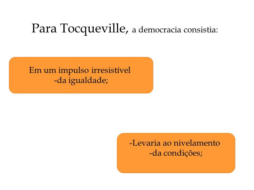 Para Tocqueville, a democracia consistia: Em um impulso irresistível -da igualdade; -Levaria ao nivelamento -da condições;