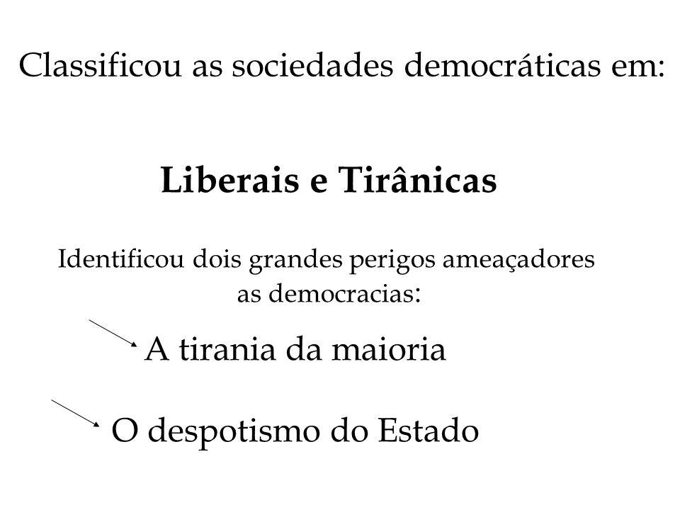 Classificou as sociedades democráticas em: Liberais e Tirânicas Identificou dois grandes perigos ameaçadores as democracias : A tirania da maioria O d