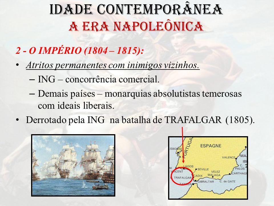 IDADE CONTEMPORÂNEA A ERA NAPOLEÔNICA 2 - O IMPÉRIO (1804 – 1815): Atritos permanentes com inimigos vizinhos. – ING – concorrência comercial. – Demais