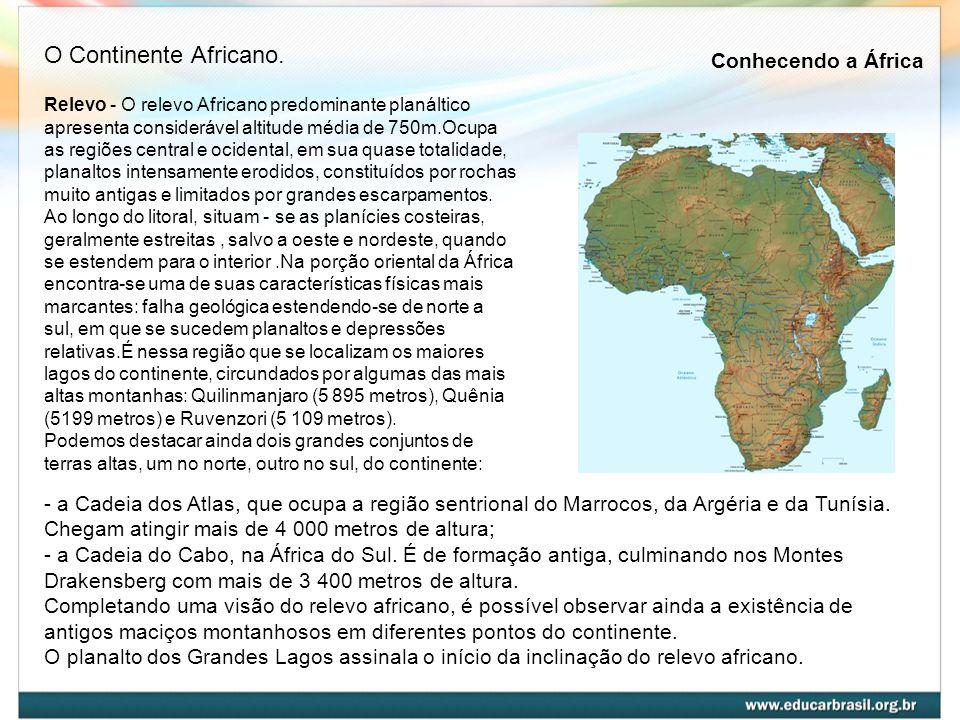 Relevo - O relevo Africano predominante planáltico apresenta considerável altitude média de 750m.Ocupa as regiões central e ocidental, em sua quase to