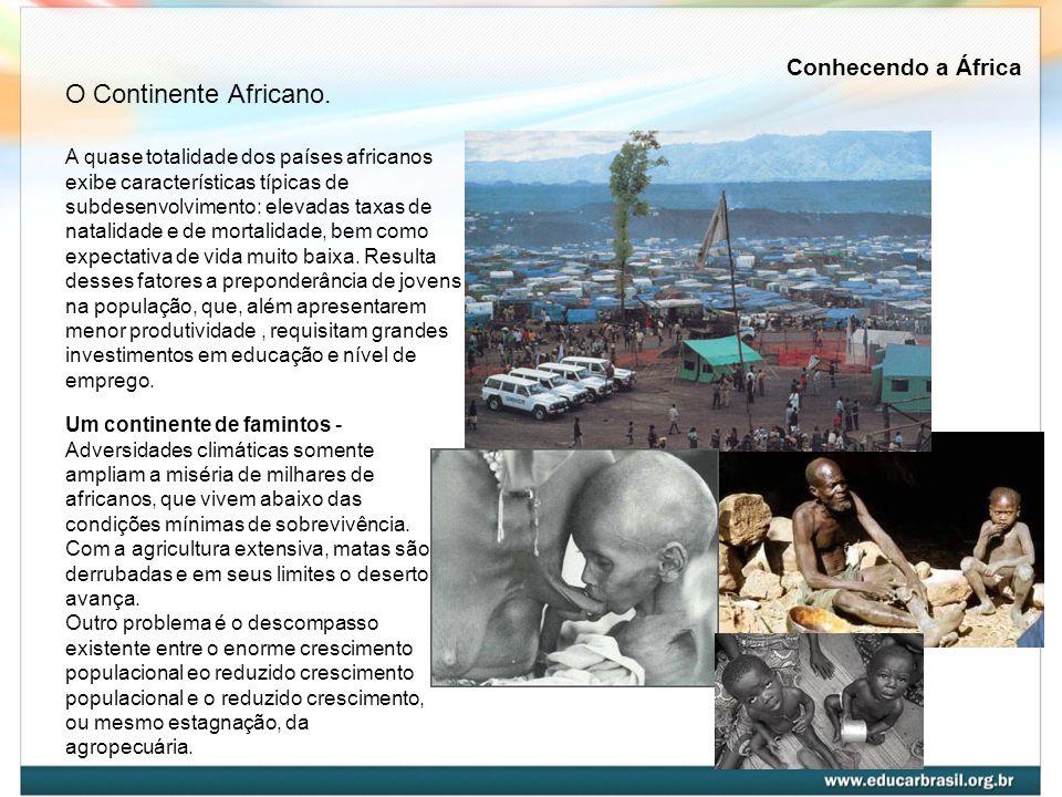 A quase totalidade dos países africanos exibe características típicas de subdesenvolvimento: elevadas taxas de natalidade e de mortalidade, bem como e