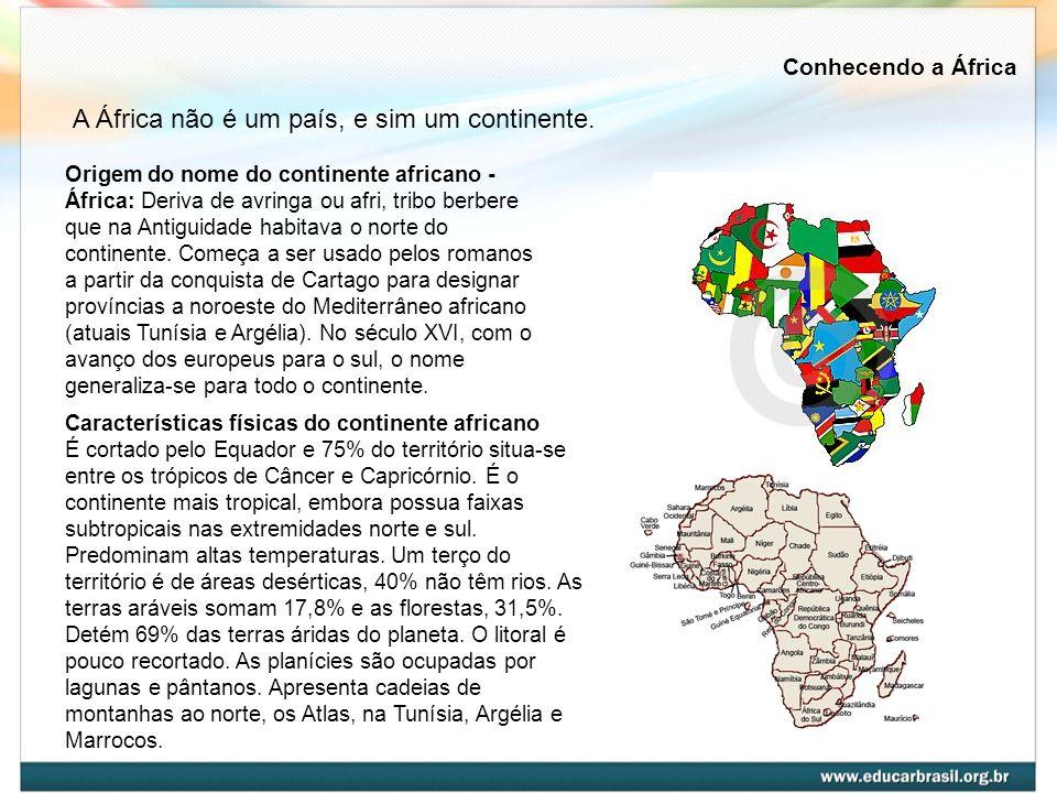 A África não é um país, e sim um continente. Origem do nome do continente africano - África: Deriva de avringa ou afri, tribo berbere que na Antiguida