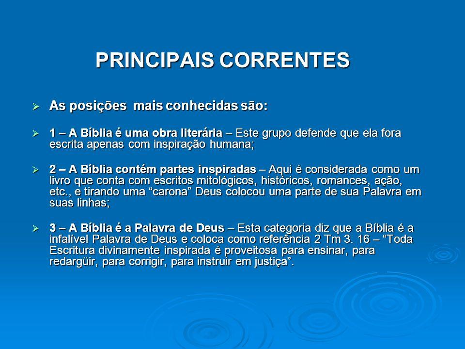 PRINCIPAIS CORRENTES PRINCIPAIS CORRENTES As posições mais conhecidas são: As posições mais conhecidas são: 1 – A Bíblia é uma obra literária – Este g