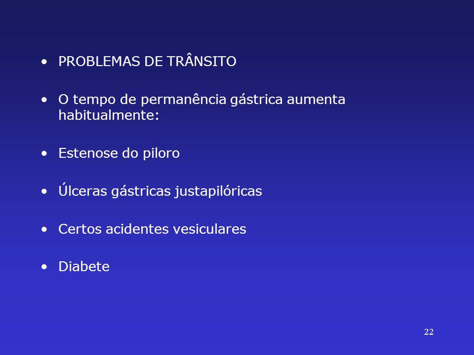 PROBLEMAS DE TRÂNSITO O tempo de permanência gástrica aumenta habitualmente: Estenose do piloro Úlceras gástricas justapilóricas Certos acidentes vesi