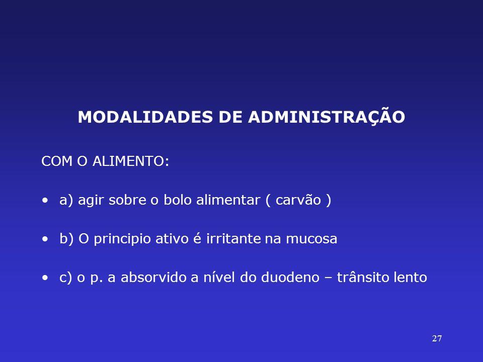MODALIDADES DE ADMINISTRAÇÃO COM O ALIMENTO: a) agir sobre o bolo alimentar ( carvão ) b) O principio ativo é irritante na mucosa c) o p. a absorvido