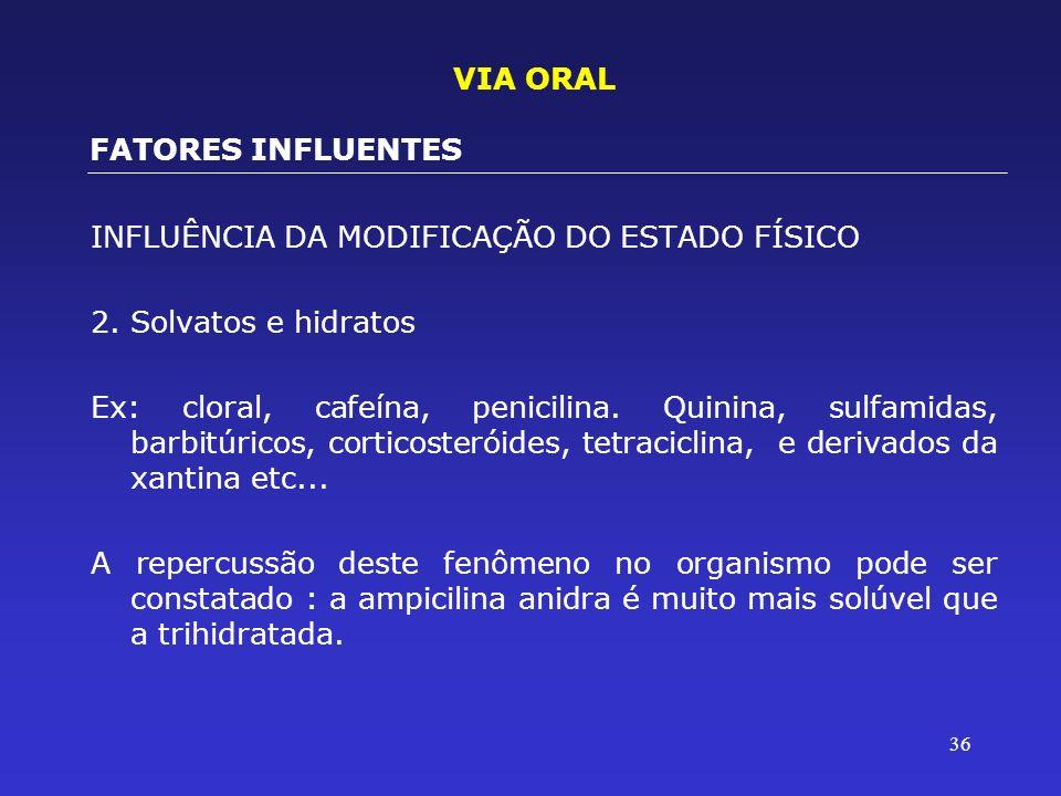 36 INFLUÊNCIA DA MODIFICAÇÃO DO ESTADO FÍSICO 2.Solvatos e hidratos Ex: cloral, cafeína, penicilina. Quinina, sulfamidas, barbitúricos, corticosteróid