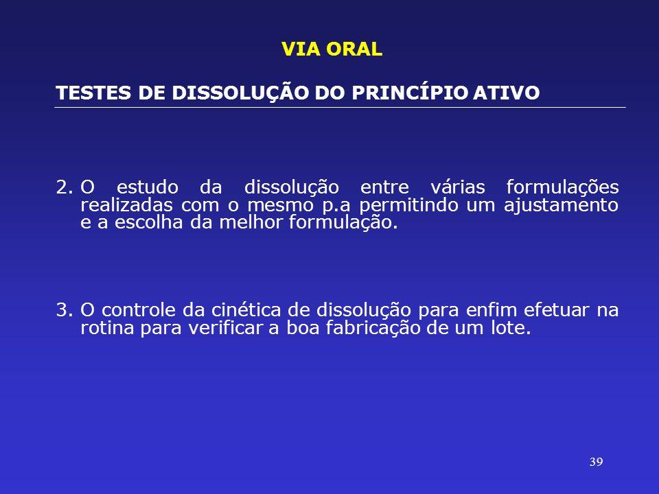 39 2.O estudo da dissolução entre várias formulações realizadas com o mesmo p.a permitindo um ajustamento e a escolha da melhor formulação. 3.O contro