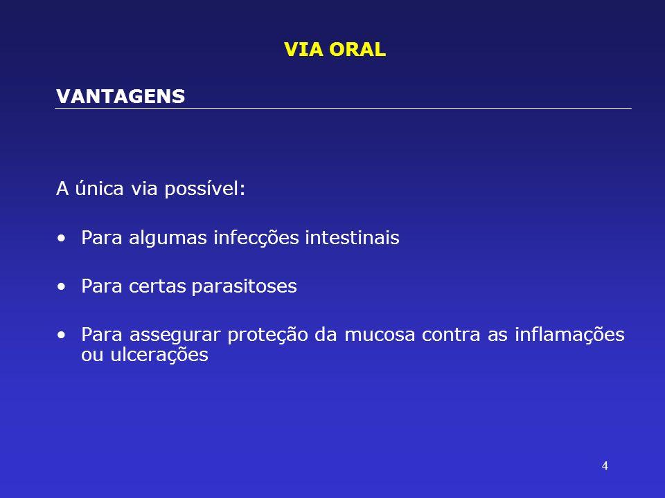 4 A única via possível: Para algumas infecções intestinais Para certas parasitoses Para assegurar proteção da mucosa contra as inflamações ou ulceraçõ