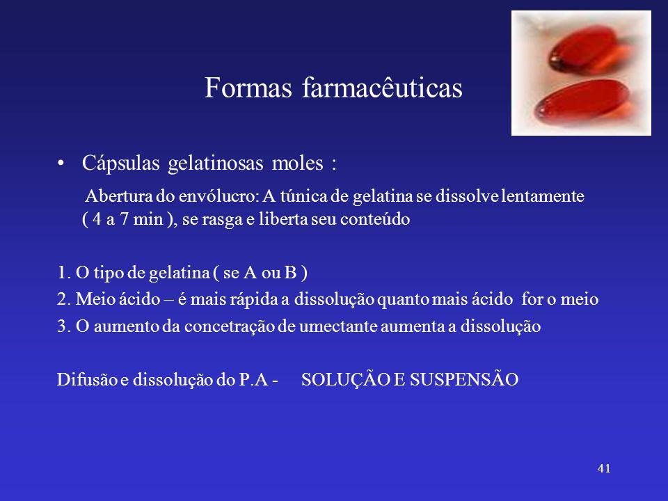 Formas farmacêuticas Cápsulas gelatinosas moles : Abertura do envólucro: A túnica de gelatina se dissolve lentamente ( 4 a 7 min ), se rasga e liberta