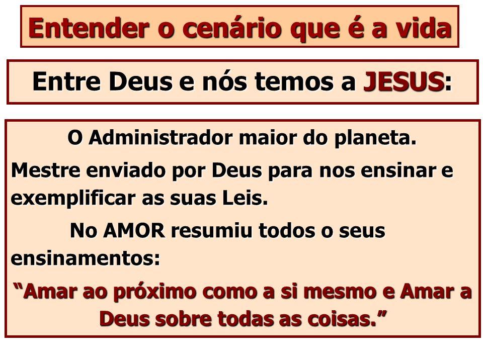 Entender o cenário que é a vida Entre Deus e nós temos a JESUS: O Administrador maior do planeta. Mestre enviado por Deus para nos ensinar e exemplifi
