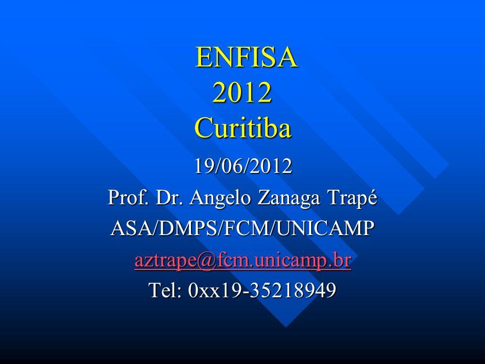 ENFISA 2012 Curitiba ENFISA 2012 Curitiba 19/06/2012 Prof. Dr. Angelo Zanaga Trapé ASA/DMPS/FCM/UNICAMP aztrape@fcm.unicamp.br Tel: 0xx19-35218949