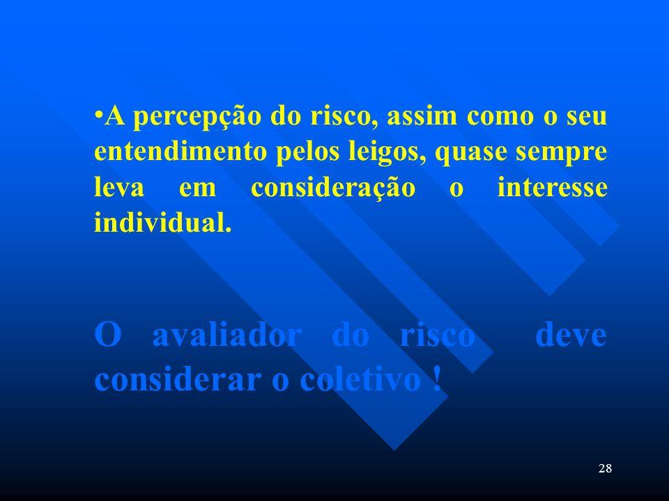 28 A percepção do risco, assim como o seu entendimento pelos leigos, quase sempre leva em consideração o interesse individual. O avaliador do risco de