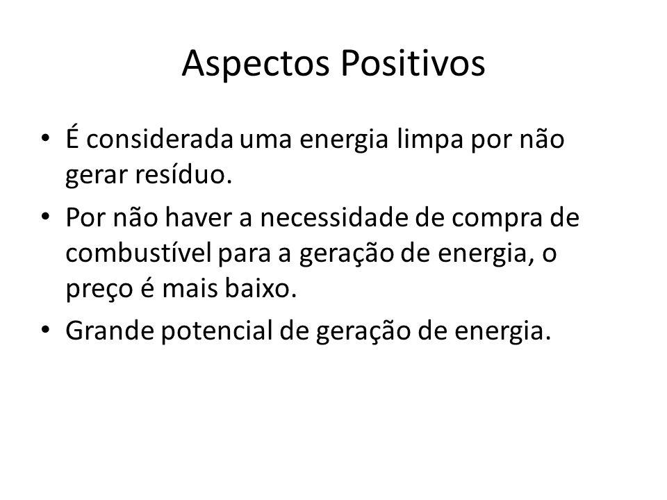 Aspectos Positivos É considerada uma energia limpa por não gerar resíduo. Por não haver a necessidade de compra de combustível para a geração de energ