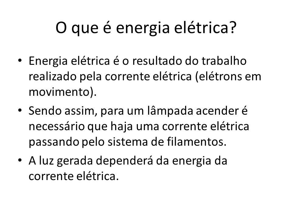O que é energia elétrica? Energia elétrica é o resultado do trabalho realizado pela corrente elétrica (elétrons em movimento). Sendo assim, para um lâ