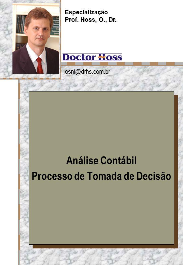 Prof. Hoss, Dr. Análise Contábil Processo de Tomada de Decisão Análise Contábil Processo de Tomada de Decisão Especialização Prof. Hoss, O., Dr. osni@