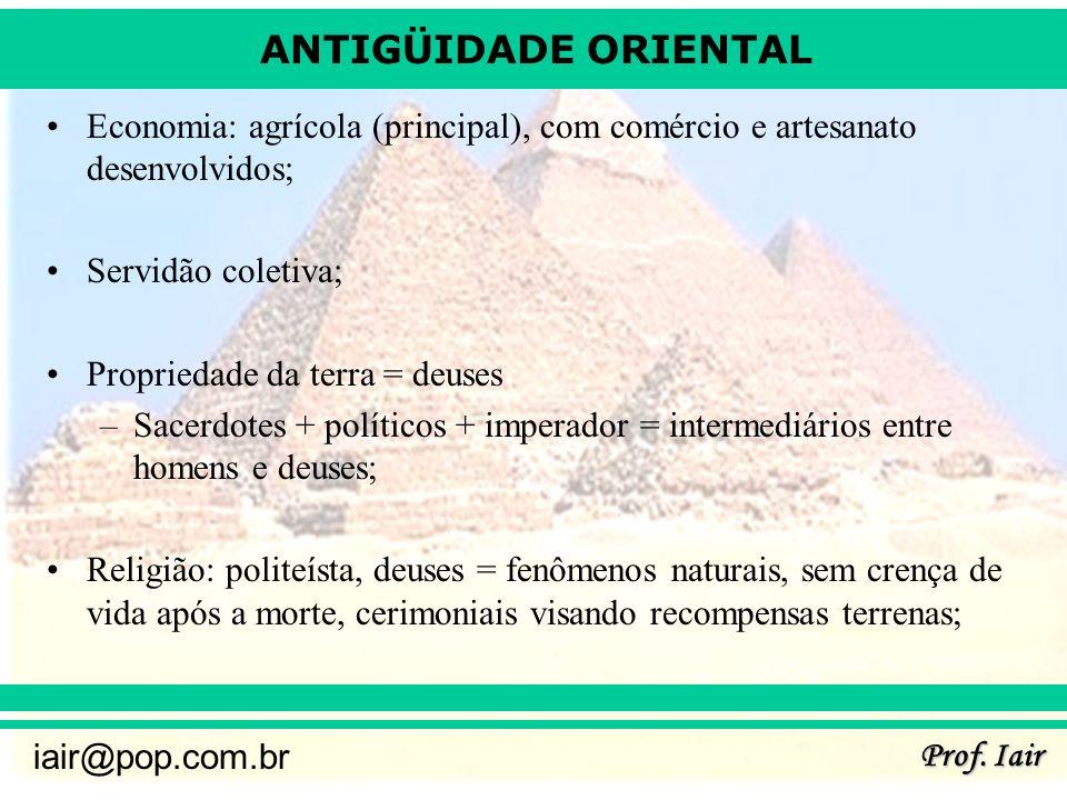 ANTIGÜIDADE ORIENTAL Prof. Iair iair@pop.com.br Economia: agrícola (principal), com comércio e artesanato desenvolvidos; Servidão coletiva; Propriedad