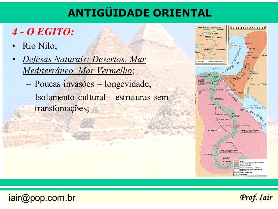ANTIGÜIDADE ORIENTAL Prof. Iair iair@pop.com.br 4 - O EGITO: Rio Nilo; Defesas Naturais: Desertos, Mar Mediterrâneo, Mar Vermelho; –Poucas invasões –