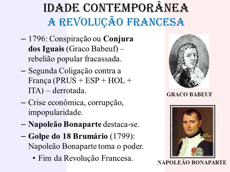IDADE CONTEMPORÂNEA A REVOLUÇÃO FRANCESA – 1796: Conspiração ou Conjura dos Iguais (Graco Babeuf) – rebelião popular fracassada. – Segunda Coligação c