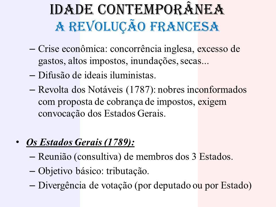 IDADE CONTEMPORÂNEA A REVOLUÇÃO FRANCESA – Crise econômica: concorrência inglesa, excesso de gastos, altos impostos, inundações, secas... – Difusão de