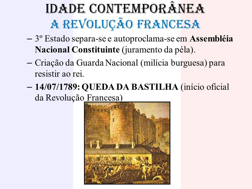 IDADE CONTEMPORÂNEA A REVOLUÇÃO FRANCESA – 3º Estado separa-se e autoproclama-se em Assembléia Nacional Constituinte (juramento da péla). – Criação da