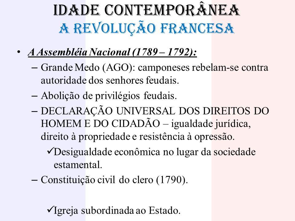 IDADE CONTEMPORÂNEA A REVOLUÇÃO FRANCESA A Assembléia Nacional (1789 – 1792): – Grande Medo (AGO): camponeses rebelam-se contra autoridade dos senhore