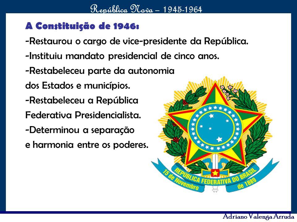 O maior conflito da história República Nova – 1945-1964 Adriano Valenga Arruda A Constituição de 1946: -Restaurou o cargo de vice-presidente da Repúbl