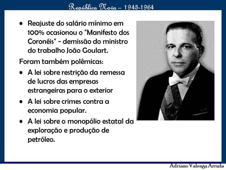 O maior conflito da história República Nova – 1945-1964 Adriano Valenga Arruda Reajuste do salário mínimo em 100% ocasionou o