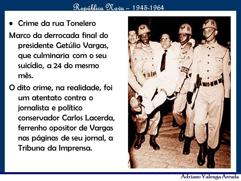 O maior conflito da história República Nova – 1945-1964 Adriano Valenga Arruda Crime da rua Tonelero Marco da derrocada final do presidente Getúlio Va