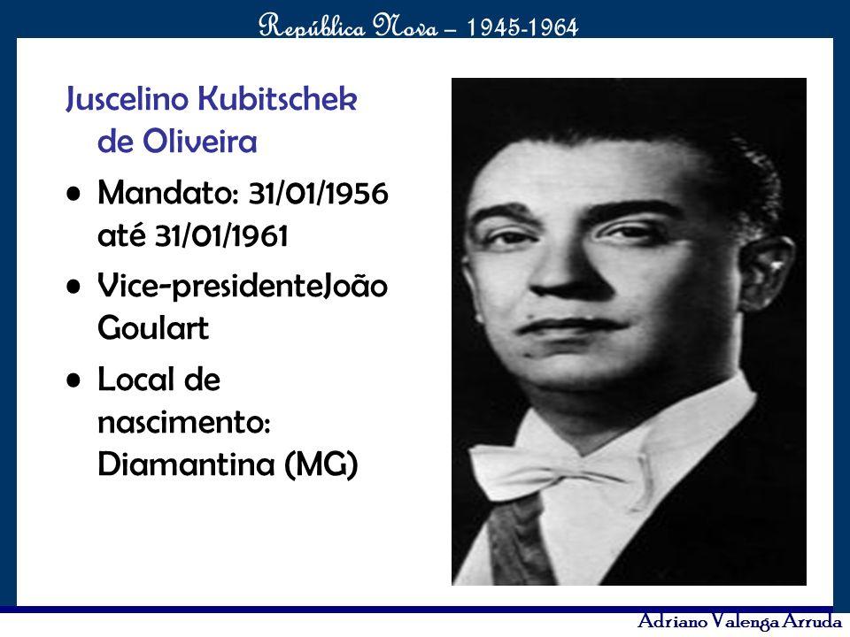 O maior conflito da história República Nova – 1945-1964 Adriano Valenga Arruda Juscelino Kubitschek de Oliveira Mandato: 31/01/1956 até 31/01/1961 Vic