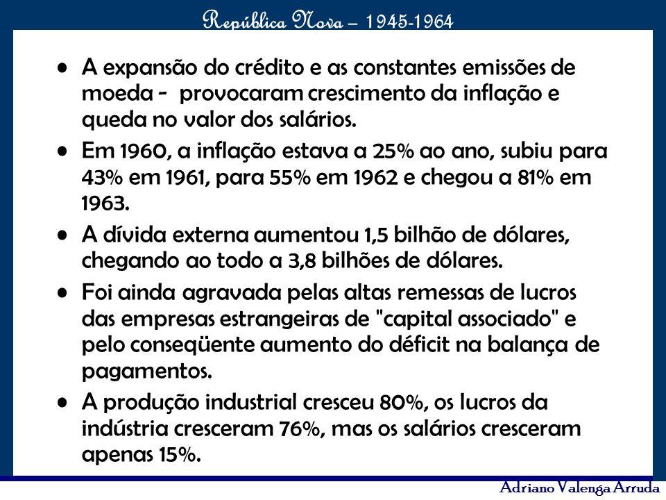 O maior conflito da história República Nova – 1945-1964 Adriano Valenga Arruda A expansão do crédito e as constantes emissões de moeda - provocaram cr