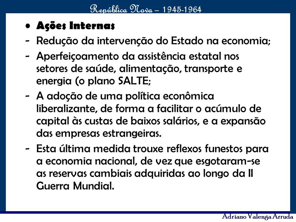 O maior conflito da história República Nova – 1945-1964 Adriano Valenga Arruda O plano tinha 31 metas distribuídas em seis grandes grupos: energia, transportes, alimentação, indústria de base, educação e a meta principal Brasília.