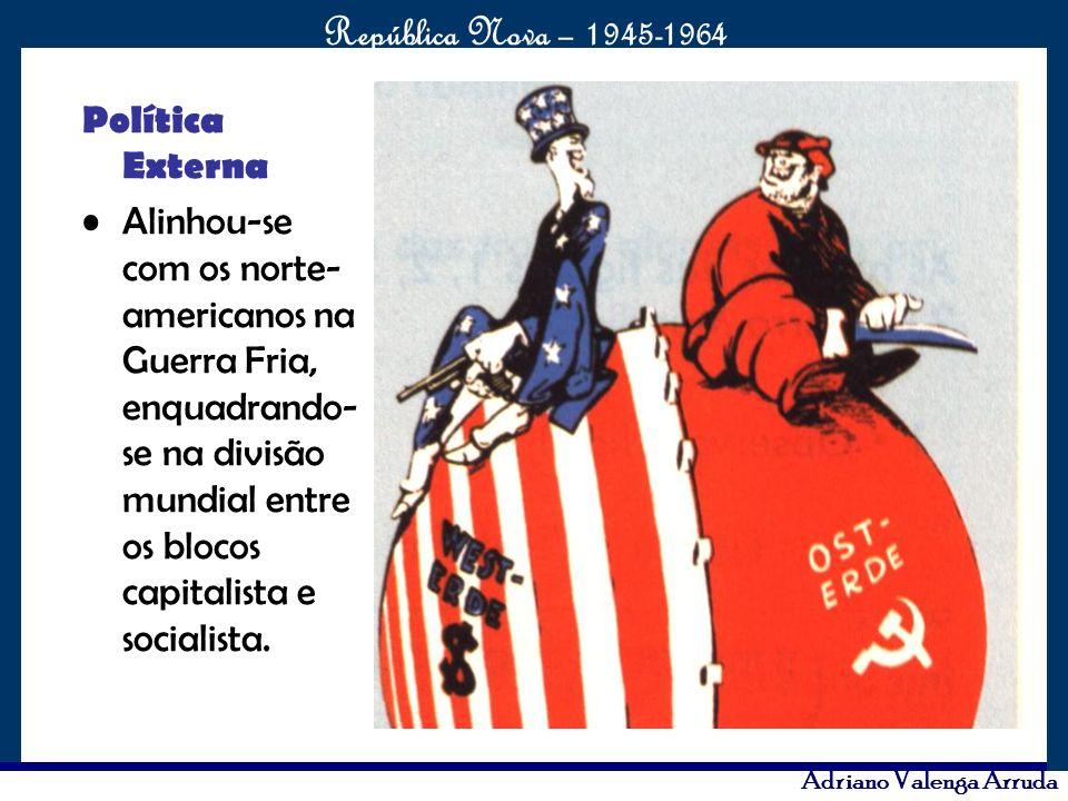 O maior conflito da história República Nova – 1945-1964 Adriano Valenga Arruda Política Externa Alinhou-se com os norte- americanos na Guerra Fria, en