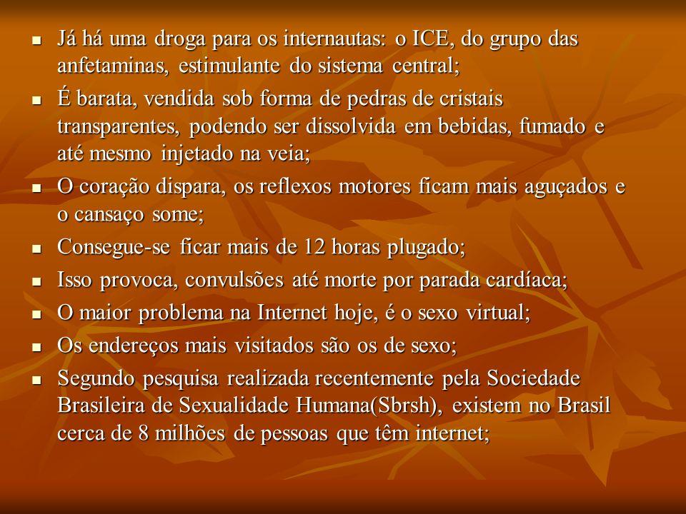 Já há uma droga para os internautas: o ICE, do grupo das anfetaminas, estimulante do sistema central; Já há uma droga para os internautas: o ICE, do g