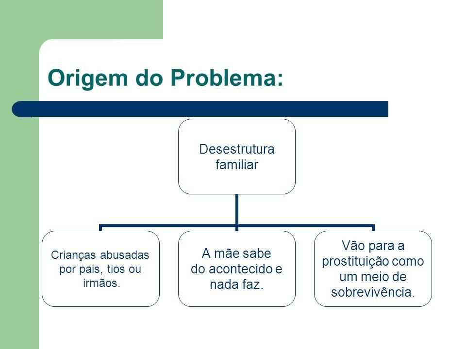 Origem do Problema: Desestrutura familiar Crianças abusadas por pais, tios ou irmãos. A mãe sabe do acontecido e nada faz. Vão para a prostituição com