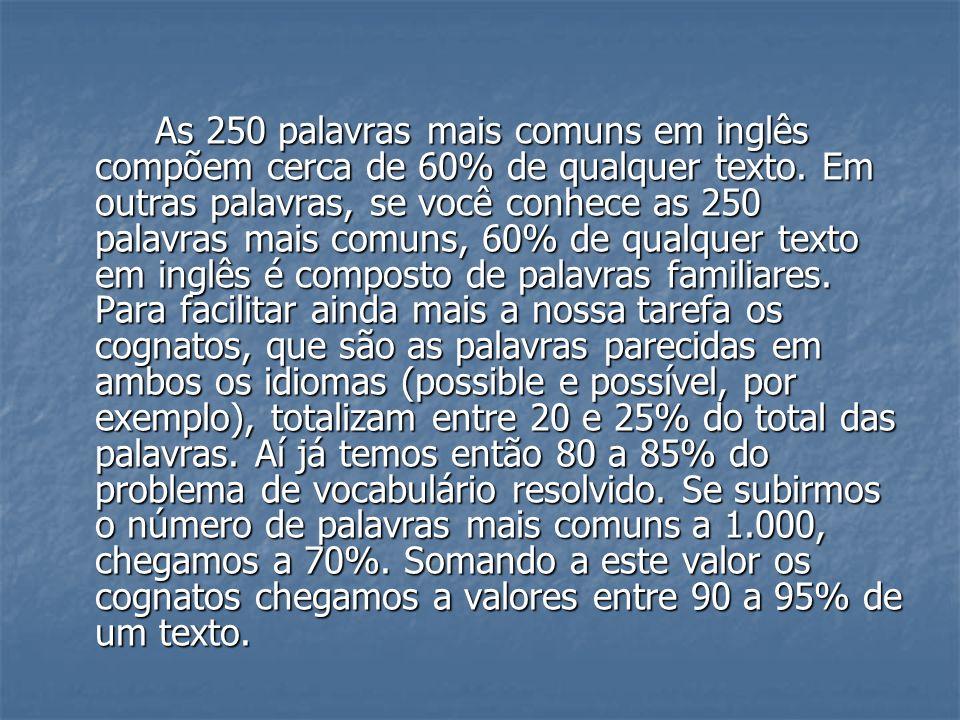 As 250 palavras mais comuns em inglês compõem cerca de 60% de qualquer texto. Em outras palavras, se você conhece as 250 palavras mais comuns, 60% de