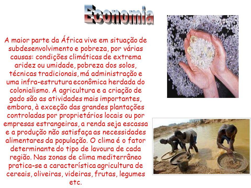 A maior parte da África vive em situação de subdesenvolvimento e pobreza, por várias causas: condições climáticas de extrema aridez ou umidade, pobreza dos solos, técnicas tradicionais, má administração e uma infra-estrutura econômica herdada do colonialismo.