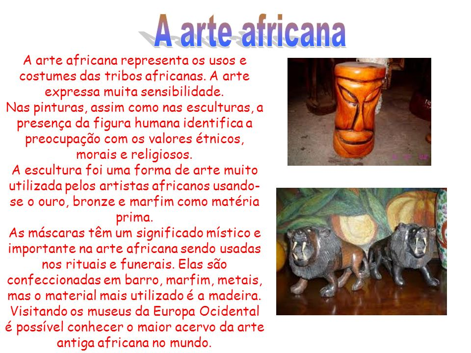 Na maioria da arte tradicional da cultura africana certos temas são recorrentes, como um casal, mulher com criança, homem com arma ou animal, e um for