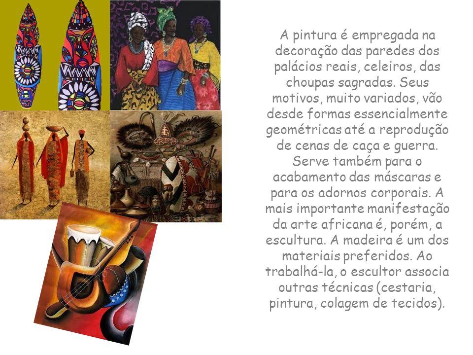 A arte africana representa os usos e costumes das tribos africanas. A arte expressa muita sensibilidade. Nas pinturas, assim como nas esculturas, a pr