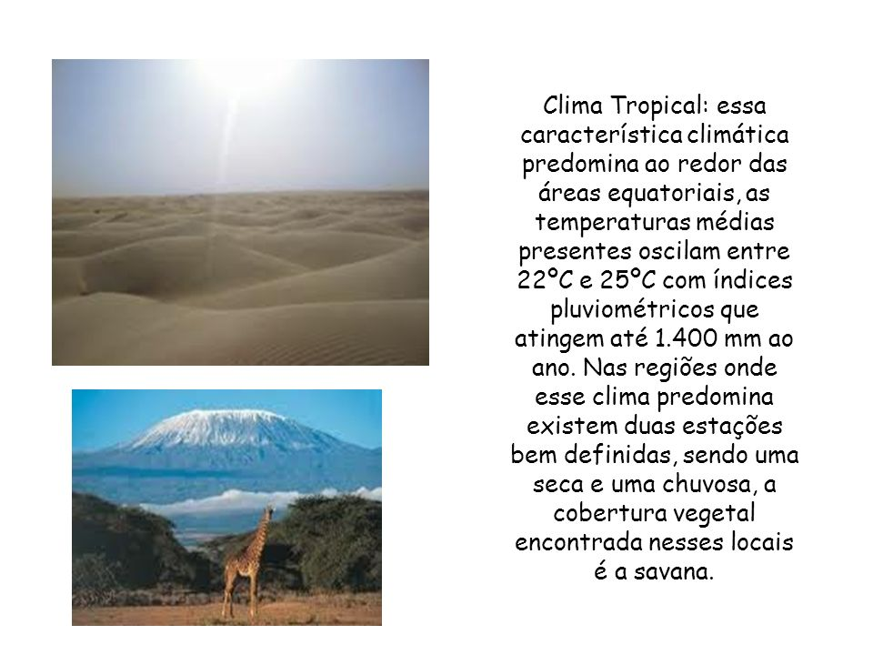 A partir do contexto climático podemos constatar os seguintes tipos de clima no continente africano. Clima equatorial: se apresenta na parte central d
