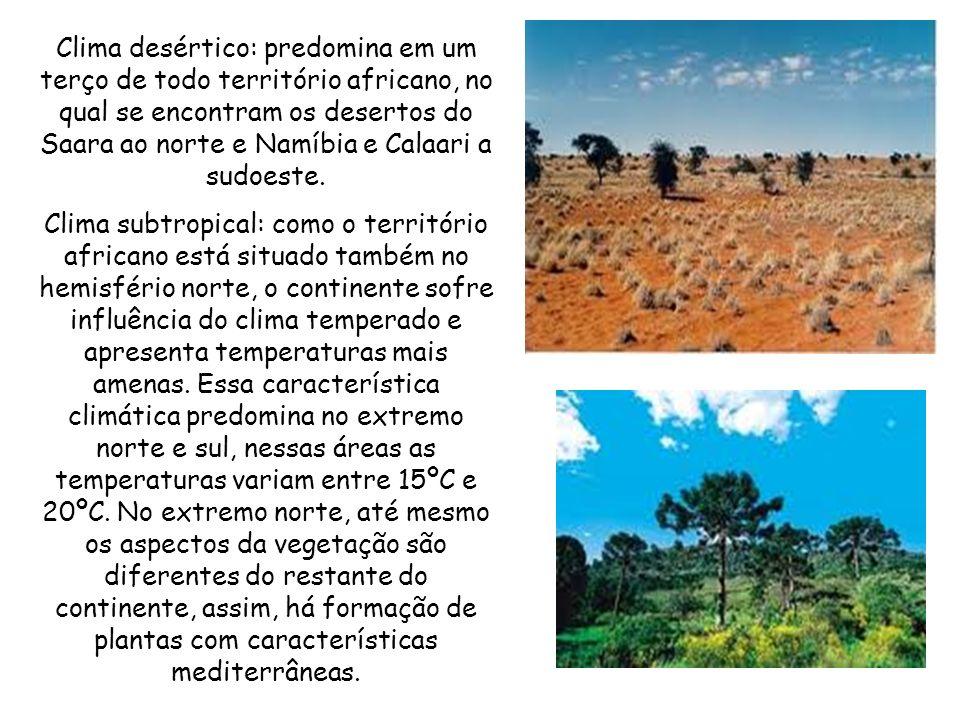 Clima desértico: predomina em um terço de todo território africano, no qual se encontram os desertos do Saara ao norte e Namíbia e Calaari a sudoeste.