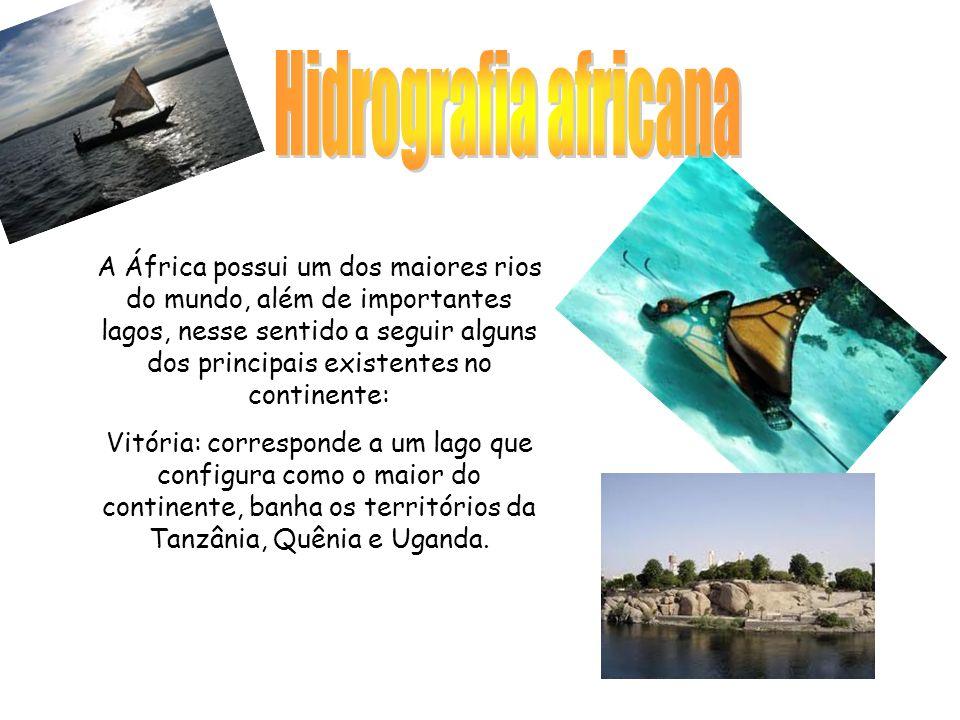 A África possui um dos maiores rios do mundo, além de importantes lagos, nesse sentido a seguir alguns dos principais existentes no continente: Vitória: corresponde a um lago que configura como o maior do continente, banha os territórios da Tanzânia, Quênia e Uganda.