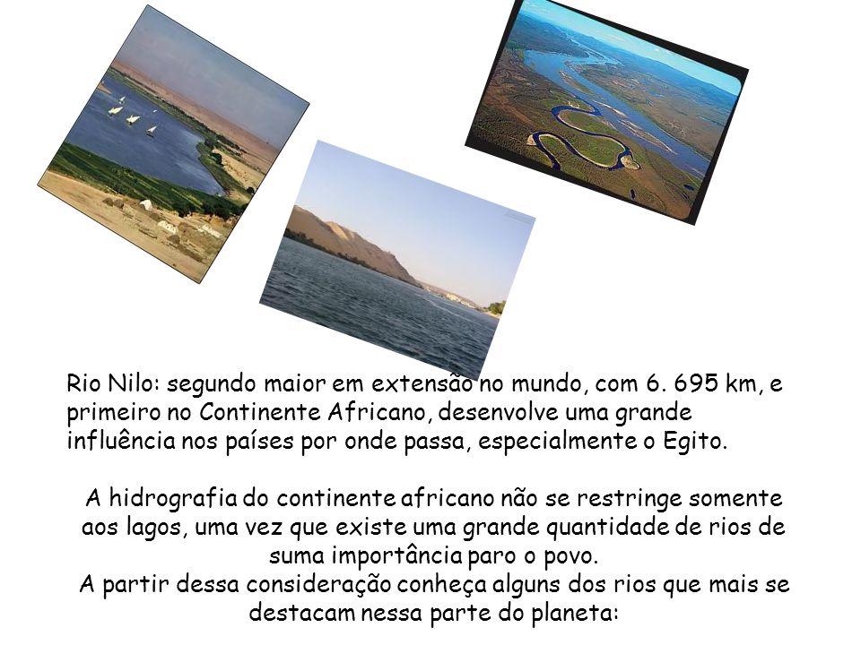 Turkana: lago de água salgada que abrange o território do Quênia e Etiópia. Alberto: lago que está localizado ao norte do continente onde estão situad