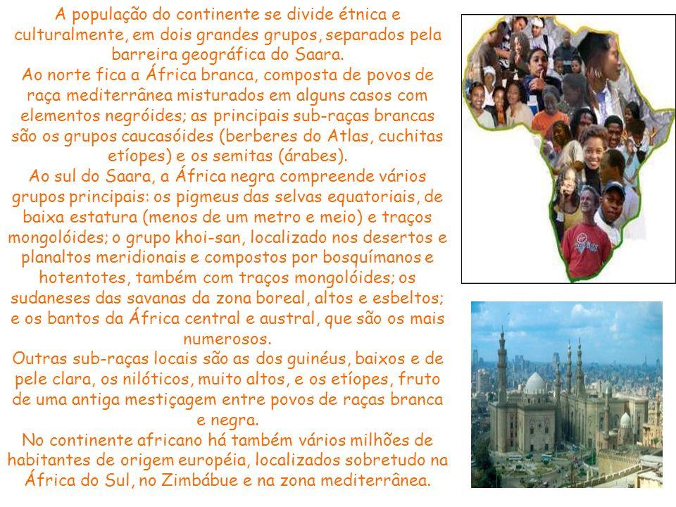 A população do continente se divide étnica e culturalmente, em dois grandes grupos, separados pela barreira geográfica do Saara.
