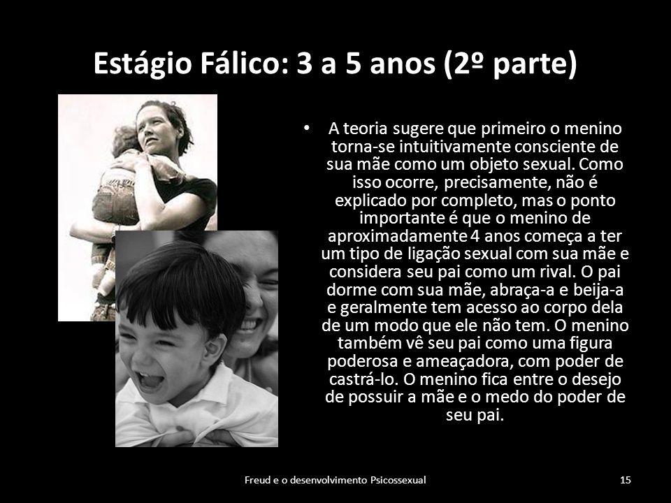 Estágio Fálico: 3 a 5 anos (2º parte) A teoria sugere que primeiro o menino torna-se intuitivamente consciente de sua mãe como um objeto sexual. Como