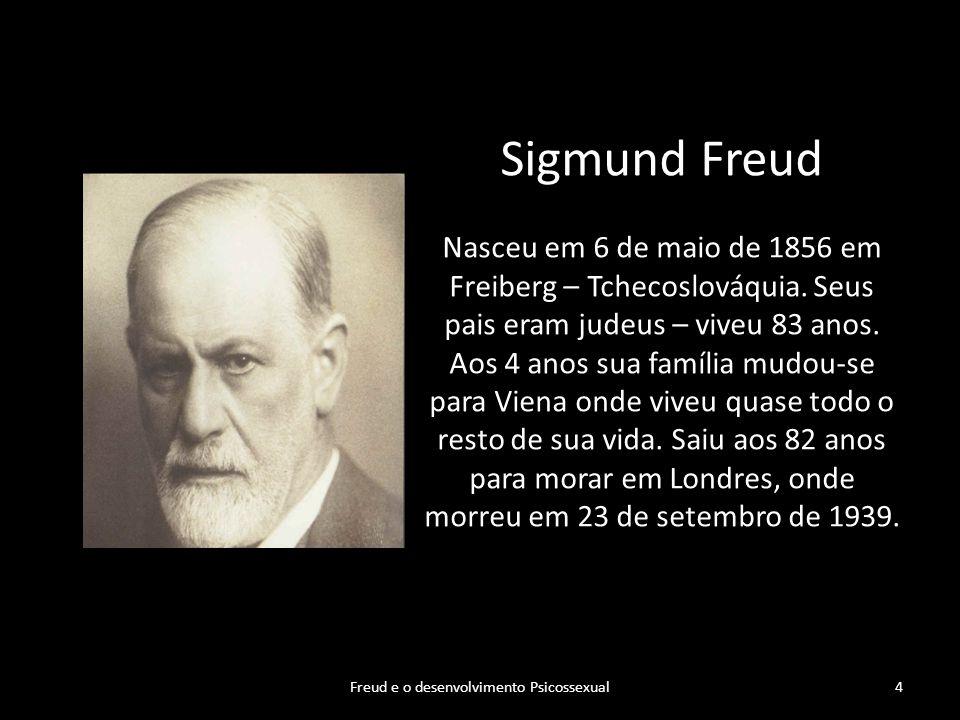 Sigmund Freud Nasceu em 6 de maio de 1856 em Freiberg – Tchecoslováquia. Seus pais eram judeus – viveu 83 anos. Aos 4 anos sua família mudou-se para V