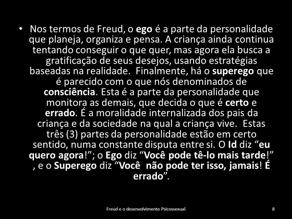 Nos termos de Freud, o ego é a parte da personalidade que planeja, organiza e pensa. A criança ainda continua tentando conseguir o que quer, mas agora