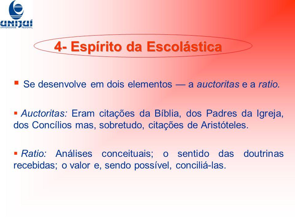Se desenvolve em dois elementos a auctoritas e a ratio. Auctoritas: Eram citações da Bíblia, dos Padres da Igreja, dos Concílios mas, sobretudo, citaç