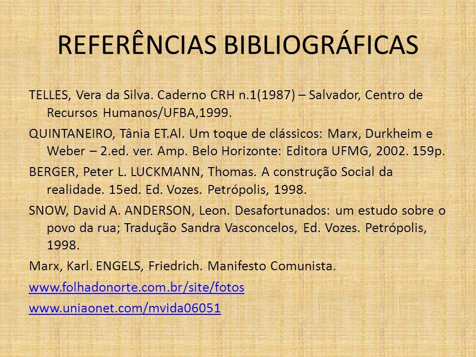 REFERÊNCIAS BIBLIOGRÁFICAS TELLES, Vera da Silva. Caderno CRH n.1(1987) – Salvador, Centro de Recursos Humanos/UFBA,1999. QUINTANEIRO, Tânia ET.Al. Um
