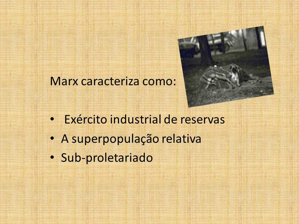 Marx caracteriza como: Exército industrial de reservas A superpopulação relativa Sub-proletariado